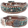 Kota Turquoise Western Leather Dog Collar
