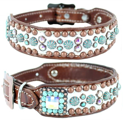 Lola Western White Leather Large Dog Collar