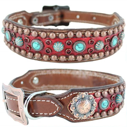 Western Dog Collar | Red Embossed Leather and Turquoise