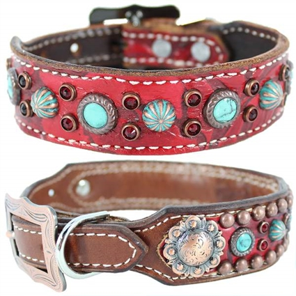 Red Gator Embossed Western Leather Dog Collar