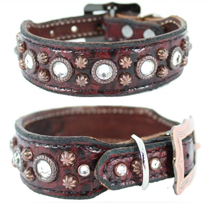 Merlot Red Western Leather Dog Collar