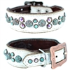 Lola Petite Western White Leather Dog Collar
