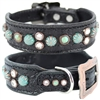 Western Leather Dog Collar | Black Gator with Turquoise