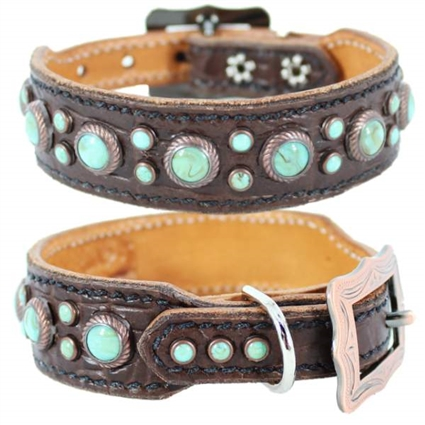 Daisy Petite Western Leather and Turquoise Dog Collar