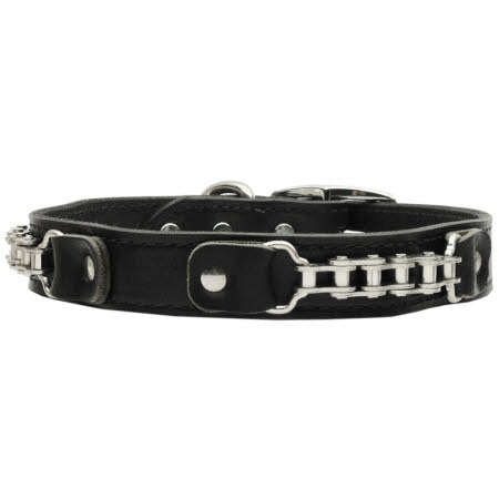 Bike Chain Black Leather Dog Collar