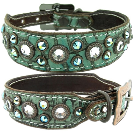 Western Leather Dog Collar | Hudson Turquoise
