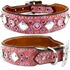 Pink Gator and Bling Western Leather Dog Collar