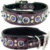 Purple Gator Western Leather Dog Collar