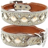 Cream Gator and Bling Western Leather Dog Collar