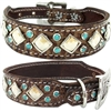 Western Leather Dog Collar | Pearl Chocolate with Turquoise
