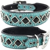 Turquoise Western Leather Dog Collar with crystals