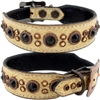 Bella Petite Gold Gator Western Leather Dog Collar