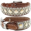 Western Leather Dog Collar | Embossed Gator, Studs and Bling