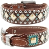 Western Leather Dog Collar | Turquoise Stones and Bling