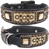 Bella Gold Gator Western Leather Dog Collar