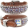 Purple Western Leather Dog Collar | Embossed Gator and Bling