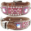 Pink Western Leather Dog Collar | Gator, Studs and Bling