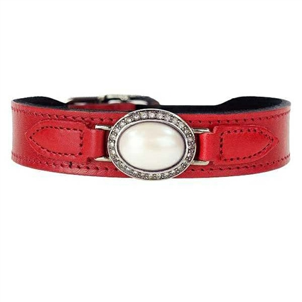Ferrari Red Leather Designer Dog Collar