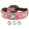 Stella Western Pink Leather Dog Collar