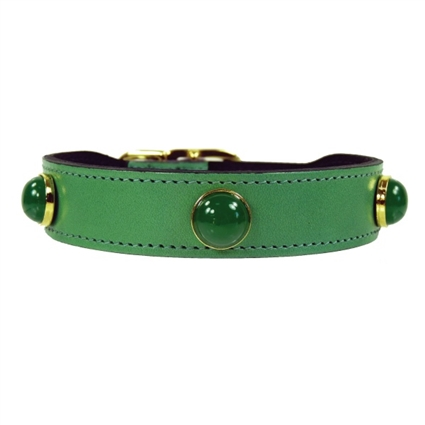 Gemstone and Leather Dog Collars | Chrysoprase
