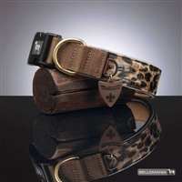 Vegan Leather Leopard Print  Dog Collar