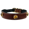Brown Tiger Eye Gemstone Leather Dog Collar
