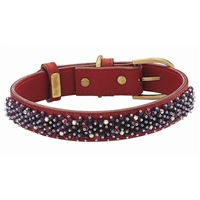 Amethyst Beaded Leather Dog Collar