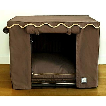 Teak Brown Canvas Dog Crate Cage Cover
