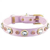 Rhinestones and Pink Cat's Eye Dog Collar  | Genuine Leather