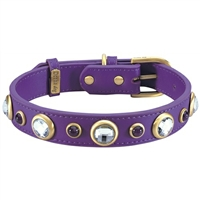 Rhinestones and Amethyst Dog Collar  | Genuine Leather