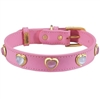 Pink and White Cat's Eye Hearts Leather Dog Cat Collar