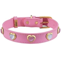 Pink and White Cat's Eye Hearts Gemstone Collar