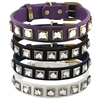 Leather Dog Collars with Princess Cut Crystal Rhinestone