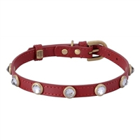 Rhinestone Bling Red Leather Collar