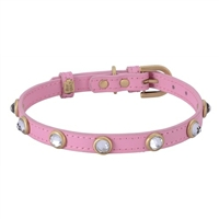 Rhinestone Bling Pink Leather Collar