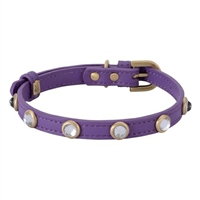 Rhinestone Bling Purple Leather Collar