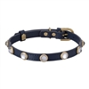 Rhinestone Bling Blue Leather Dog Cat Collar