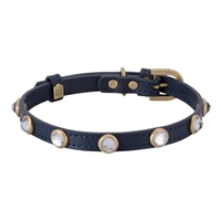 Rhinestone Bling Blue Leather Collar