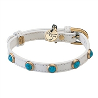 Turquoise and Leather Designer Dog Cat Collar