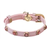 Pink Leather Dog Cat Collar | Cat's Eye Gemstones