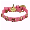 Leather Dog Cat Collar | Dark Pink Cat's Eye