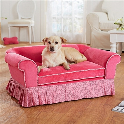 Savannah Pink Plush Dog Sofa Bed