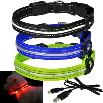 LED USB Solar Rechargeable Dog Collars