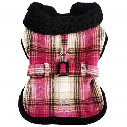 Designer Dog Coat | Hot Pink Plaid