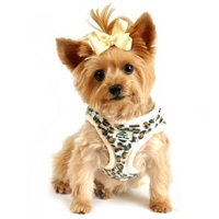 Leopard and Cream Minky Fur Designer Small Dog Harness