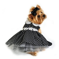 Black and White Polka Dot Dog Harness Dress