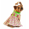 Summer Plaid Designer Dog Harness Dress