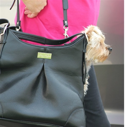 Black Faux Leather Dog Purse Carrier