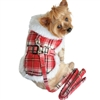 Designer Dog Coat | Red Plaid with Leash
