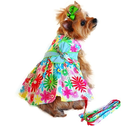 Tuscany Flowers Small Dog Harness Dress